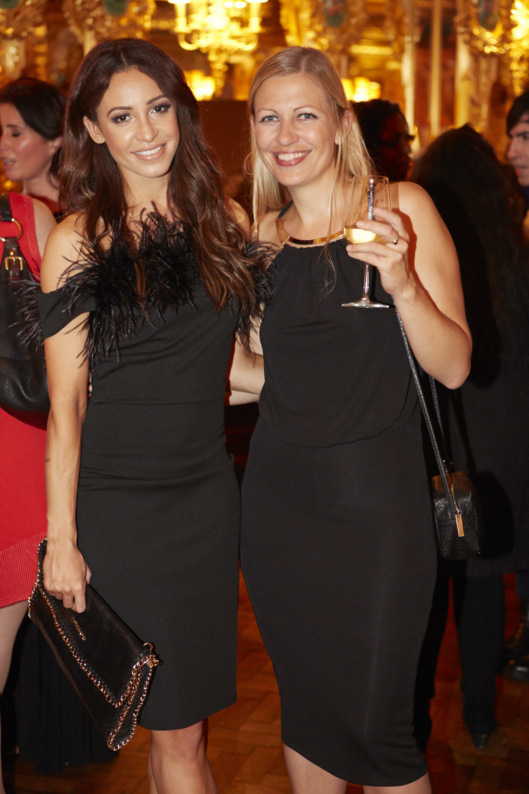 Danielle Peazer with Site Editor Nathalie Gibbins at The launch of LittleBlackDress.co.uk at Hotel Cafe Royal, Wednesday 8th October